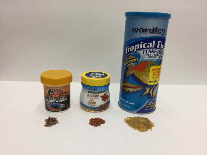 Betta blood worms, betta pellets and tropical fish flakes